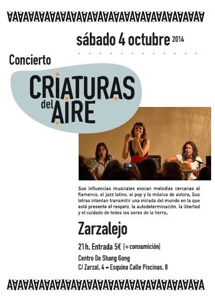 """CONCIERTO """"CRIATURAS DEL AIRE"""" 4 DE OCTUBRE 21:00 HRS"""